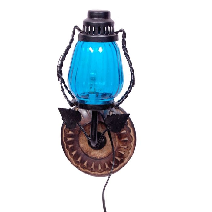 Onlineshoppee Wooden & Iron Fancy  Wall Hanging Electric Chimney Lamp  Color  SkyBlue