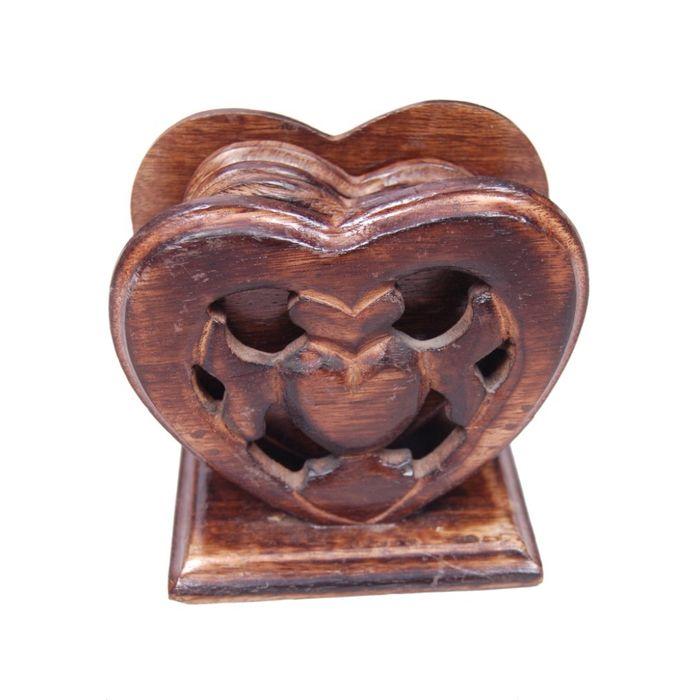 Onlineshoppee Wooden Handicrafts Heart Shape Coaster Set