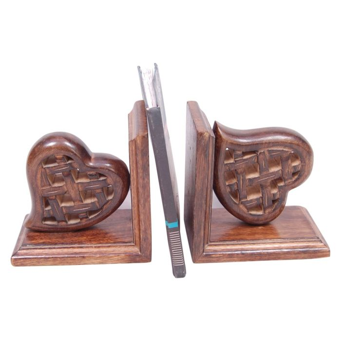 Onlineshoppee Wooden Antique Heart Shape Book Stand & Book Rack Size (LxBxH-13x4x6) Inch