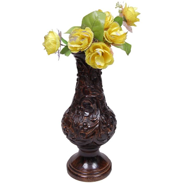 Onlineshoppee Beautiful Wooden Antique Hand Carved Flower Vase Size (LxBxH-7x7x18) Inch