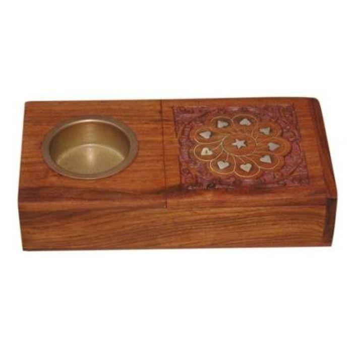 Wooden Brass Inlaya Ashtray + Cig. Case