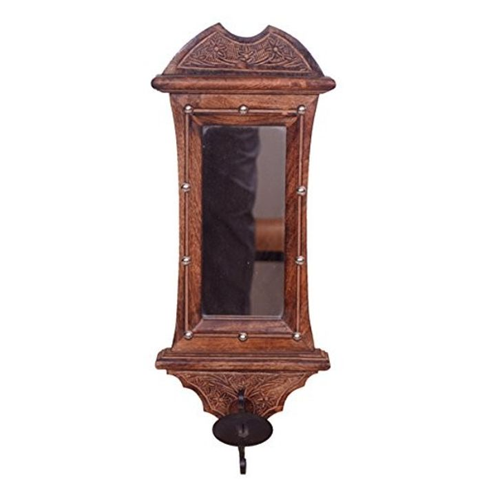 Onlineshoppee Beautiful hand carved wooden wall hanging miror reflection candle holder (Black, 7 x 1 x 20 inches)