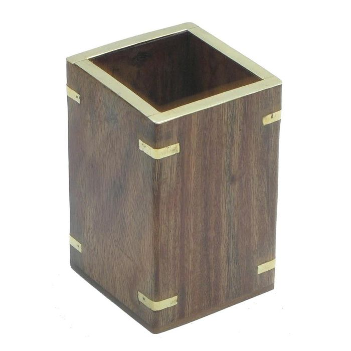 Wooden Pen/Spoons/Tissue Stand With Brass Design