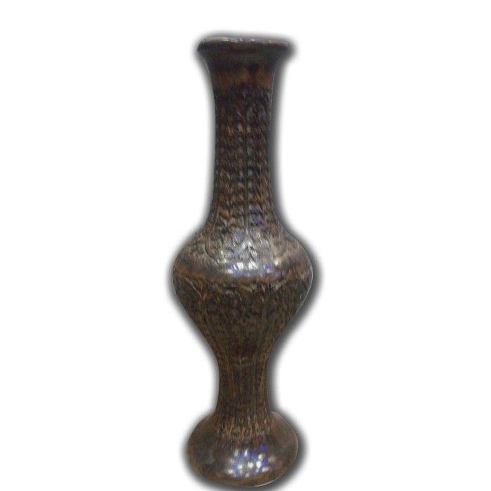 Wooden Antique Flower Vase With Hand Carved Design