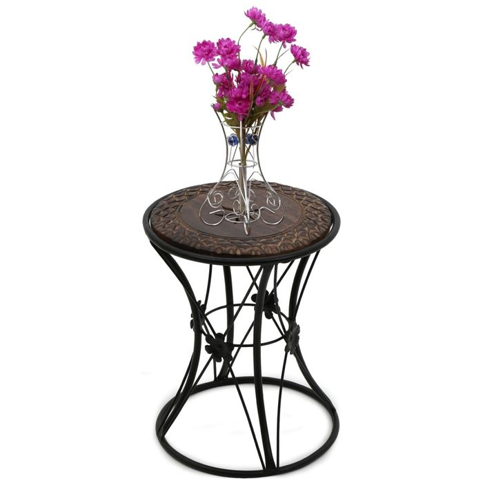 Wooden & Wrought Iron Stool/Chair