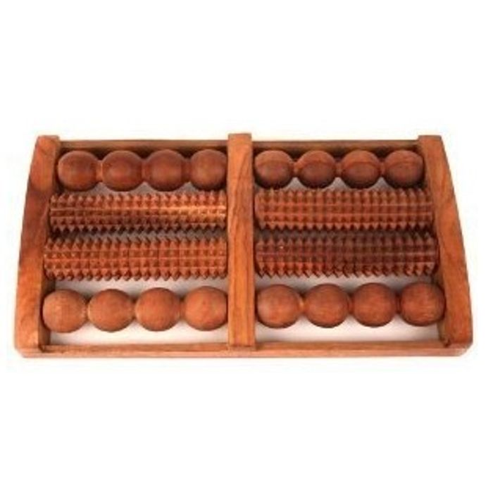 Wooden Foot Massager With Round and Spiked Rollers