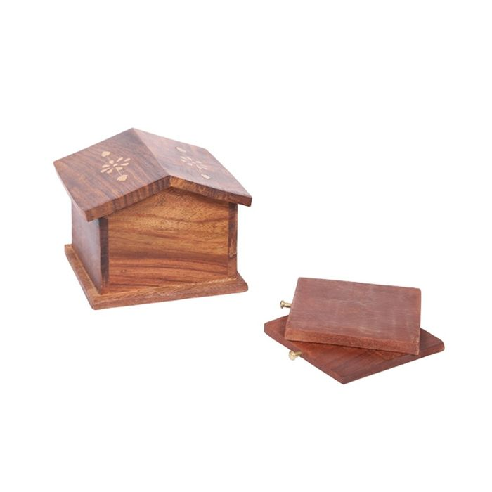 Wooden Hut Coaster Set