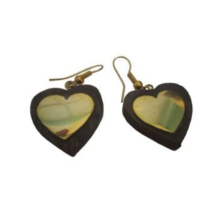 Wooden Handicraft Ear Ring Set Heart Shape
