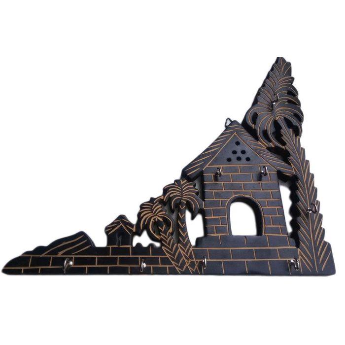 Wooden Hut Shape Wall Decor Key Holder