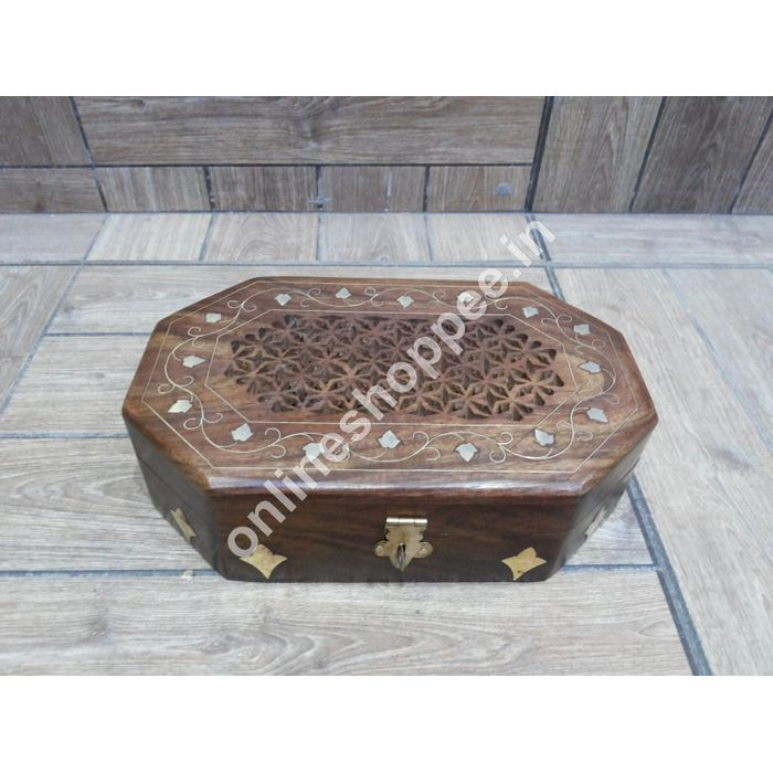Wooden Multipurpose  Box With Brass Inaly