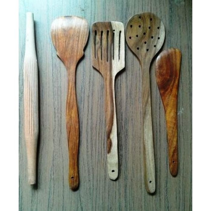 Wooden Spoon Set 1 Frying, 1 Serving, 1 Masher, 1 Chapati Roller, 1 Rice