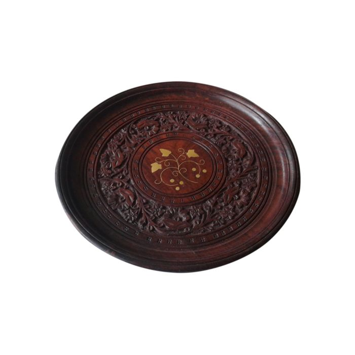 Wooden Hand Carved Thali Serving Plate