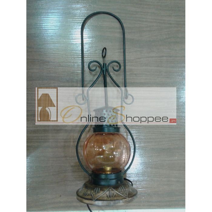Wooden & Iron hand carved Colored Electric Chimney Lantern