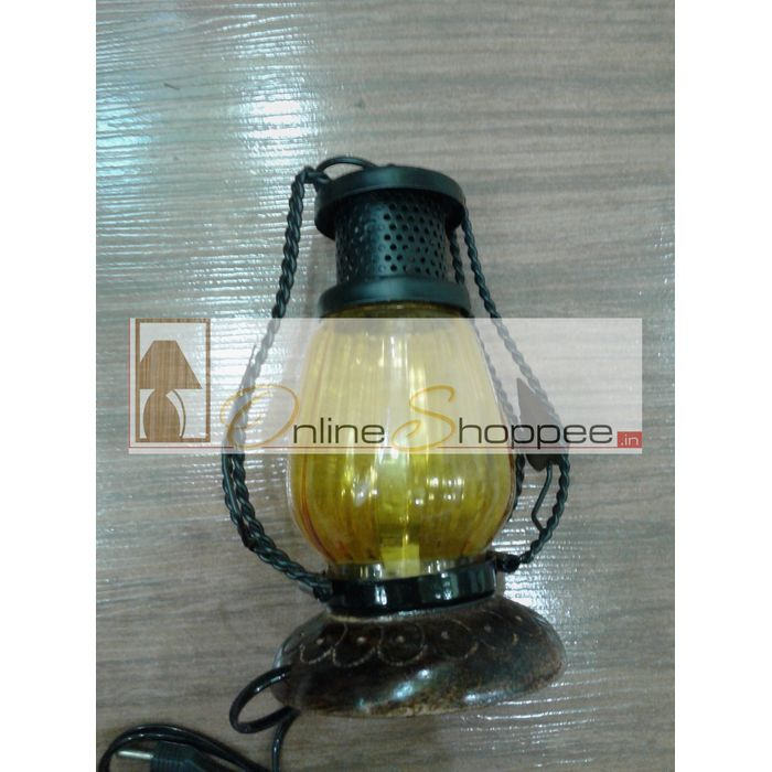 Wooden & Iron hand carved Colored Electric Chimney Lantern design ~ Yellow