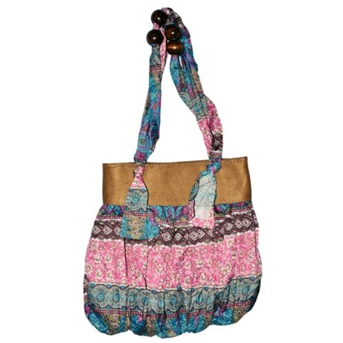 Printed Handbags With Beads Handle Buy 1 Get 1  Free