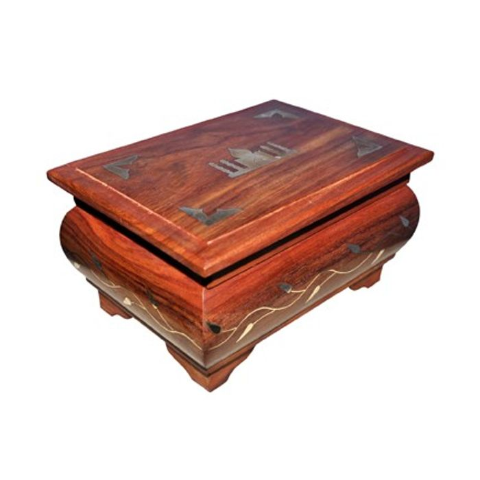 Wooden Jewelery Box With Brass Inlay Taj Mahal Design