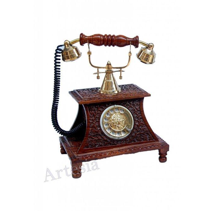 Wood Carving Maharaja Phone Wooden Vintage Phone
