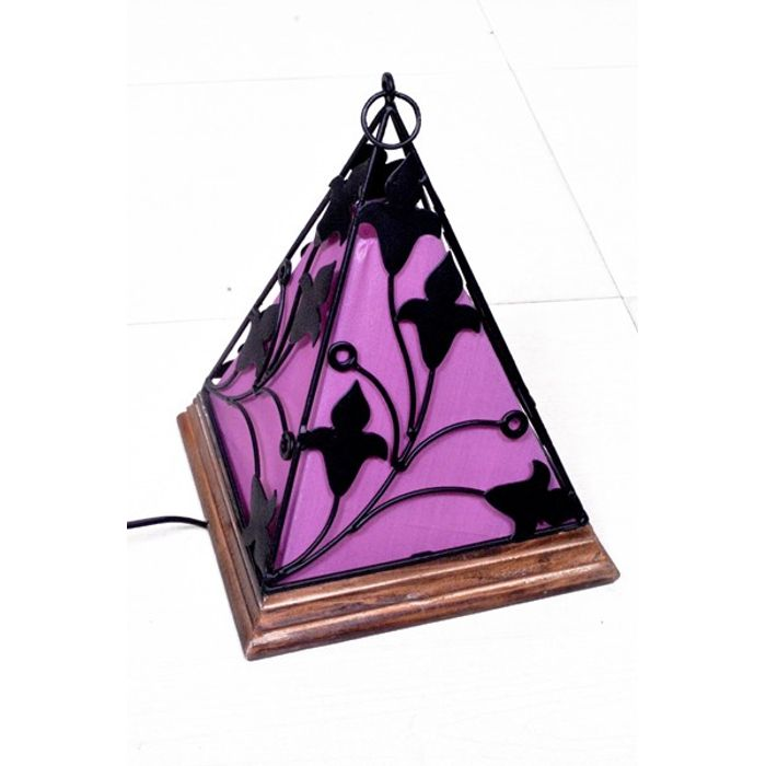 Onlineshoppee Contemporary Wooden & Wrought Iron Lamp Handmade Antique Look - Purple