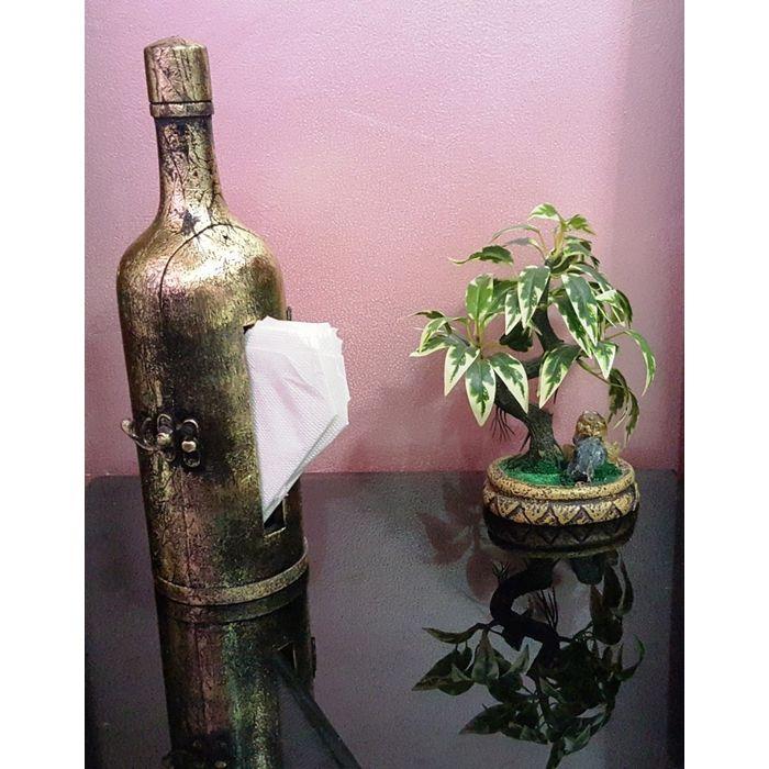 Onlineshoppee Wooden Handicraft Hand Made Bottle Tissue Paper Holder, Decorative, Antique Look, Gift Item Box Dispenser