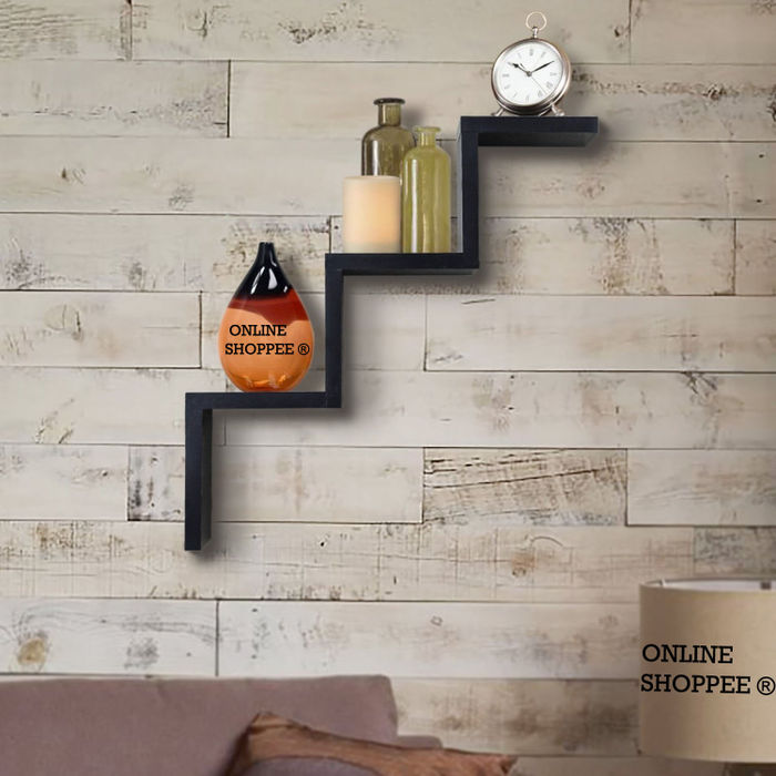 Onlineshoppee Handicrafted W Shape Designer MDF Wall Shelf - Black