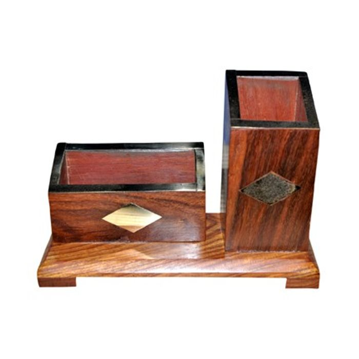 Wooden Office Stationery Holder-  Pen, letter, clips, brushes, business cards holder