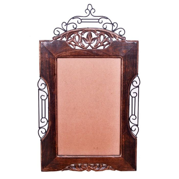 Wooden And Iron Mirror / Photo Frame Big Antique Look