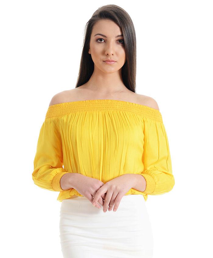 ebfe1793e8e9c Previous Next » · Sunshine Yellow Off the Shoulder Top
