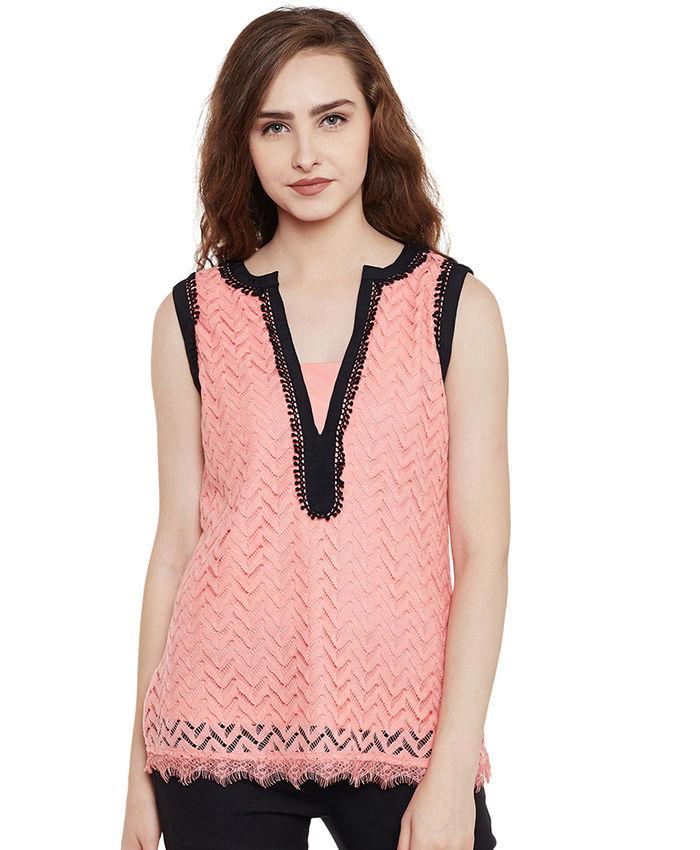 280ef857e0aaf4 Blush Pink Sleeveless Lace Top
