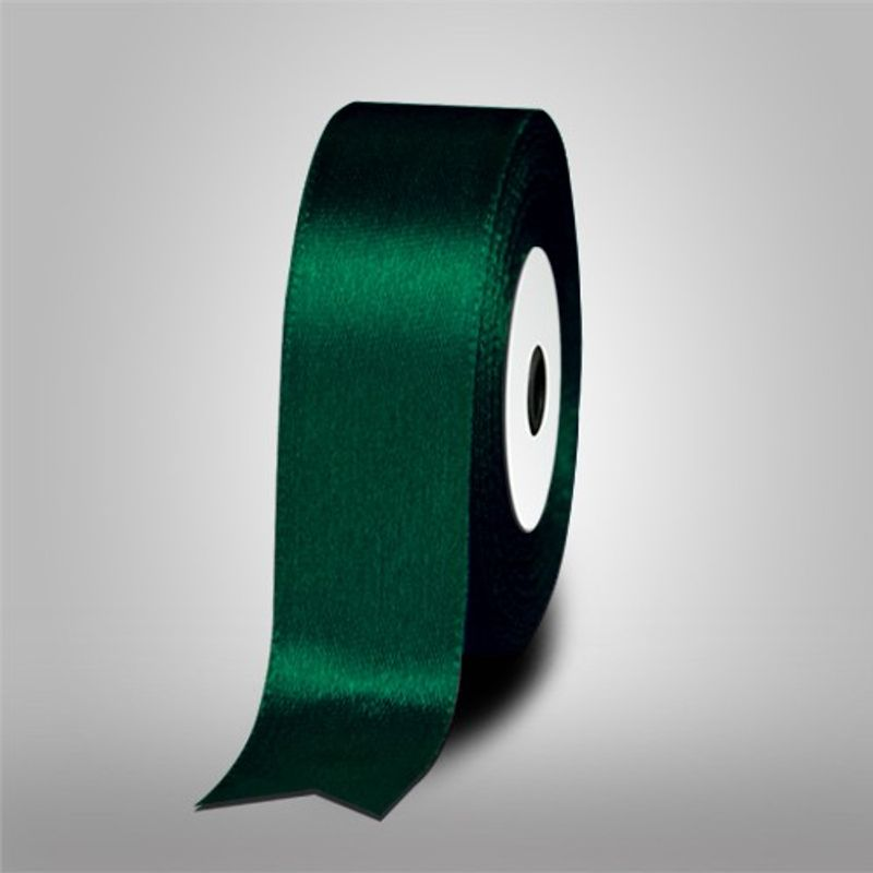 1 Inch Dark Green Single Face Satin Ribbon