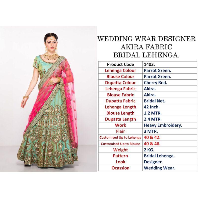 b16484bbc4 WEDDING WEAR DESIGNER AKIRA FABRIC BRIDAL LEHENGA
