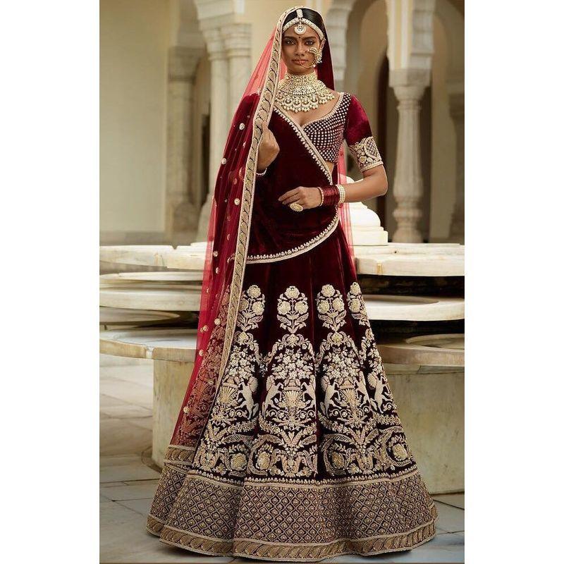 Bridal Wedding Wear Pure Velvet Lehenga