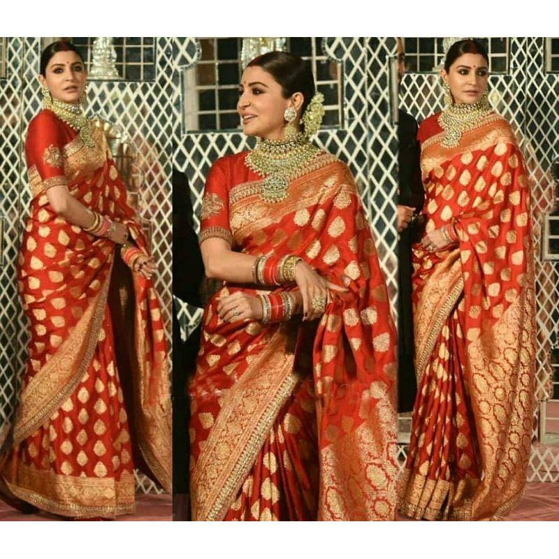 Anushka Sharma Reception Saree