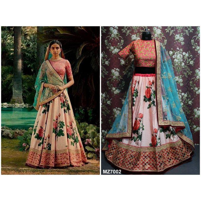 206edfcb7437e Bangalore SIlk Premium Floral Lehenga 7002