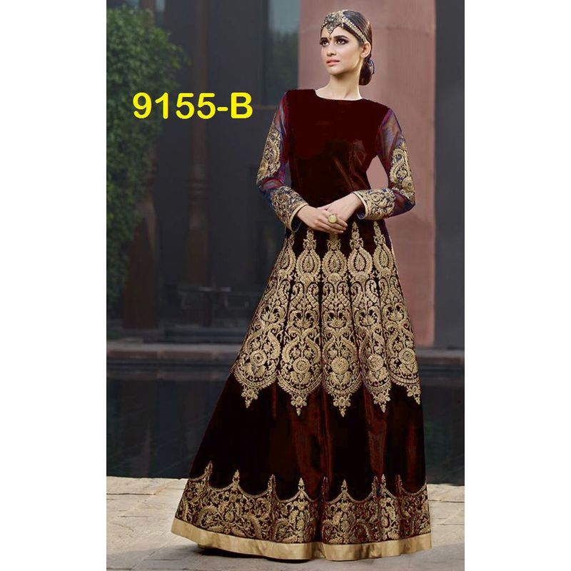 WEDDING WEAR PRINCESS VELVET SUIT WITH GOLDEN EMBROIDERY