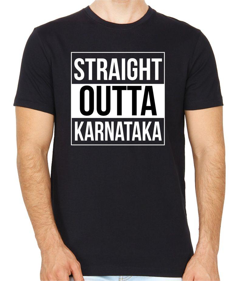 Straight Outta Karnataka Black Colour Round Neck T-Shirt