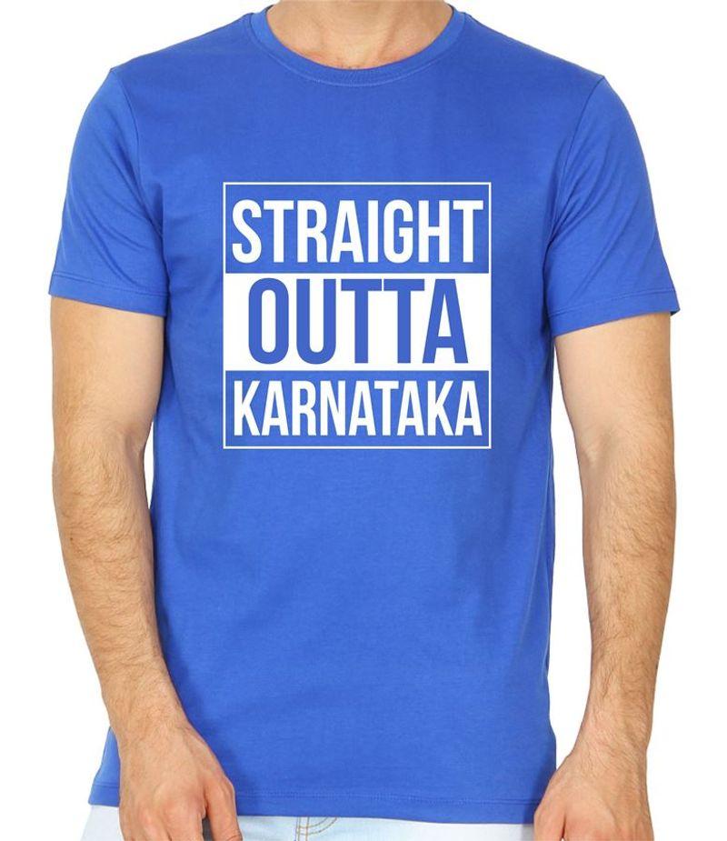 Straight Outta Karnataka Royal Blue Colour Round Neck T-Shirt