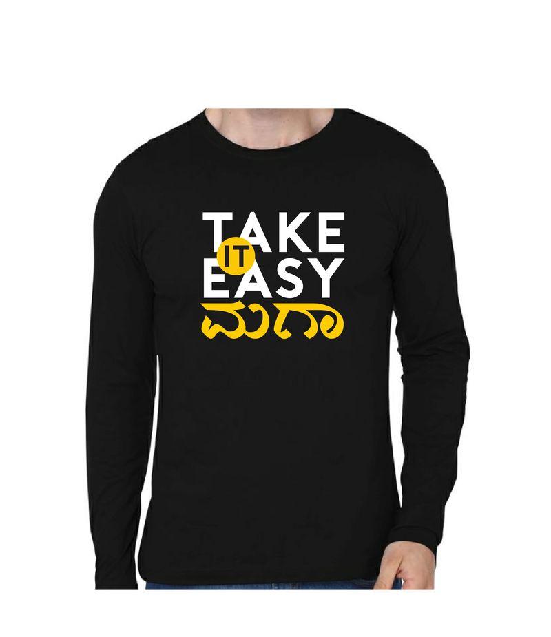 Take It Easy Maga Black Color Full Sleeve T-Shirt