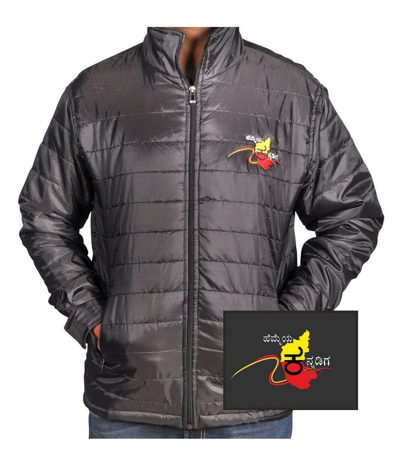 Hemmeya Kannadiga Black Nylon Quilted Full sleeve Jacket