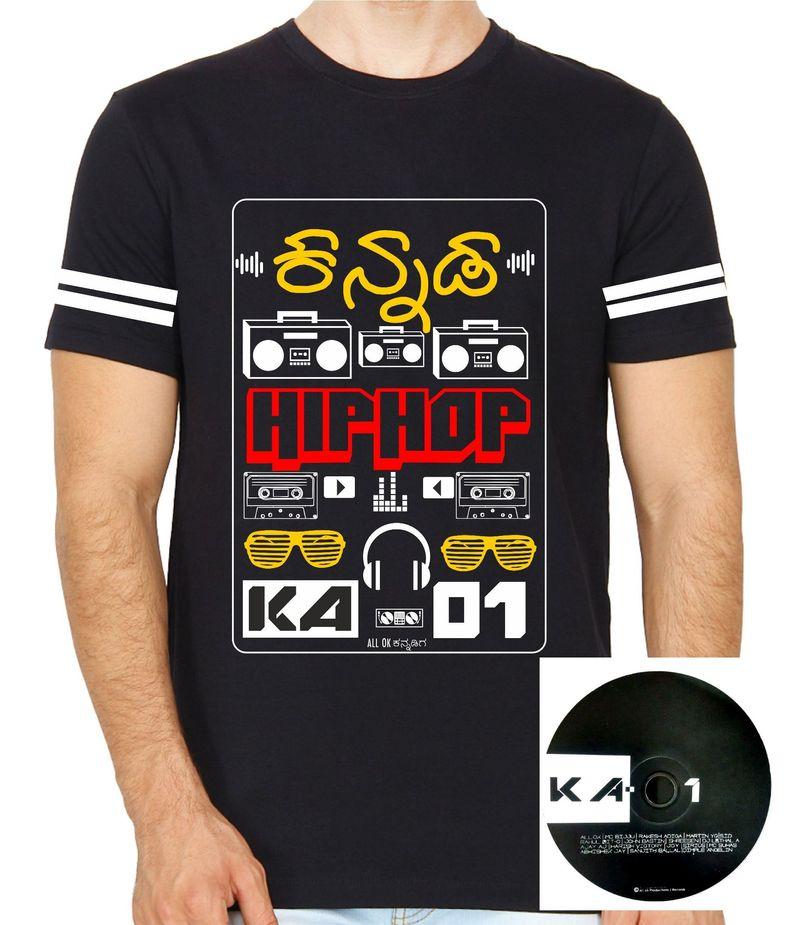 KA-01 Kannada Hiphop Black Colour Round Neck Tshirt with CD