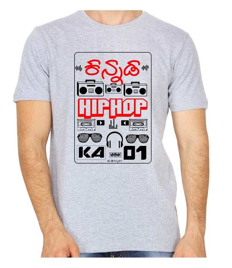 KA-01 Kannada Hiphop  Grey colour Round Neck Tshirt