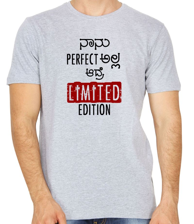 Nanu Perfect Alla Grey colour round neck kannada t-shirt