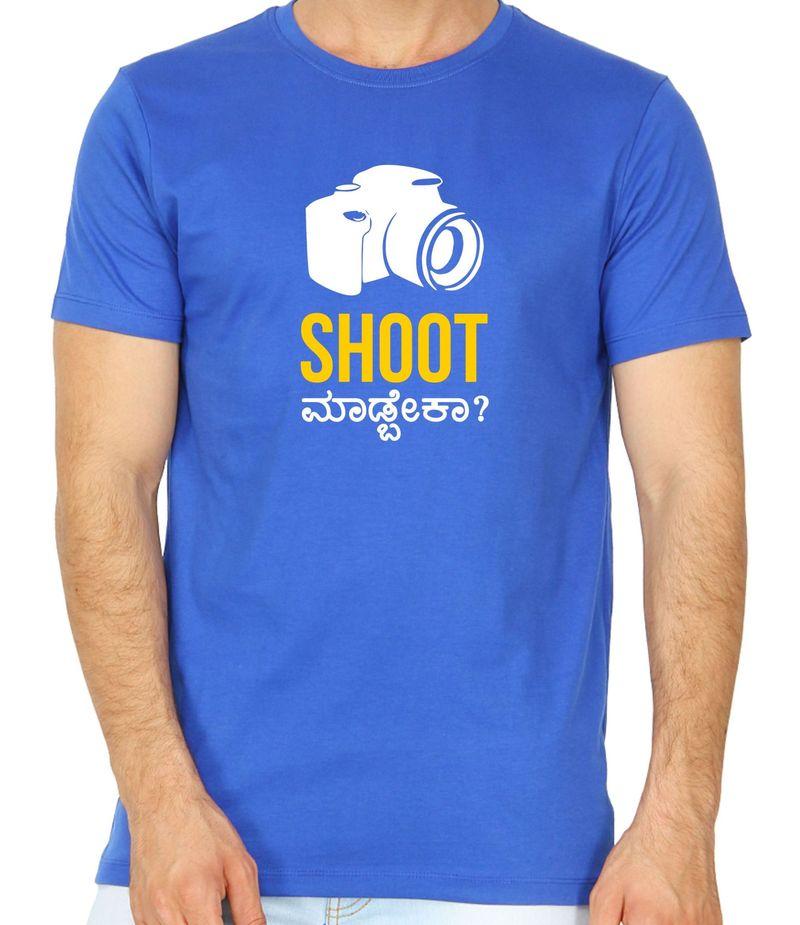Shoot Madbeka Royal Blue Colour Round Neck Tshirt