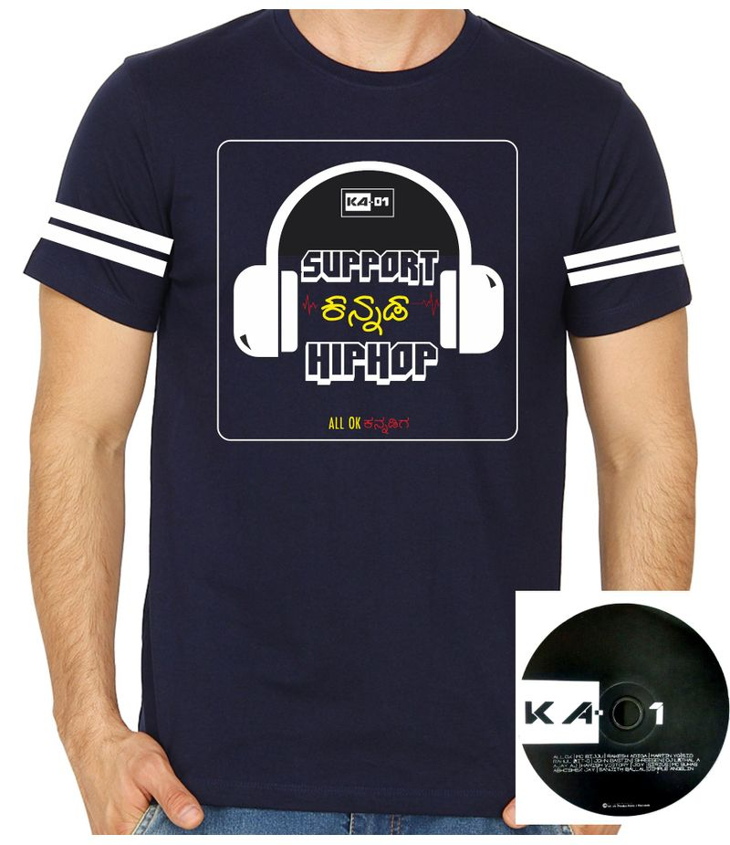 Support Kannada Hiphop Navy Blue Colour Round Neck Tshirt With CD