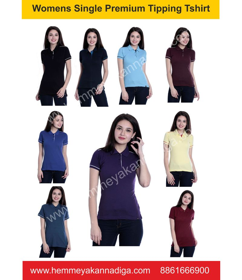 Women  Premium Single Tipping  Tshirts  -G   Customized t-shirts for rajyotsava