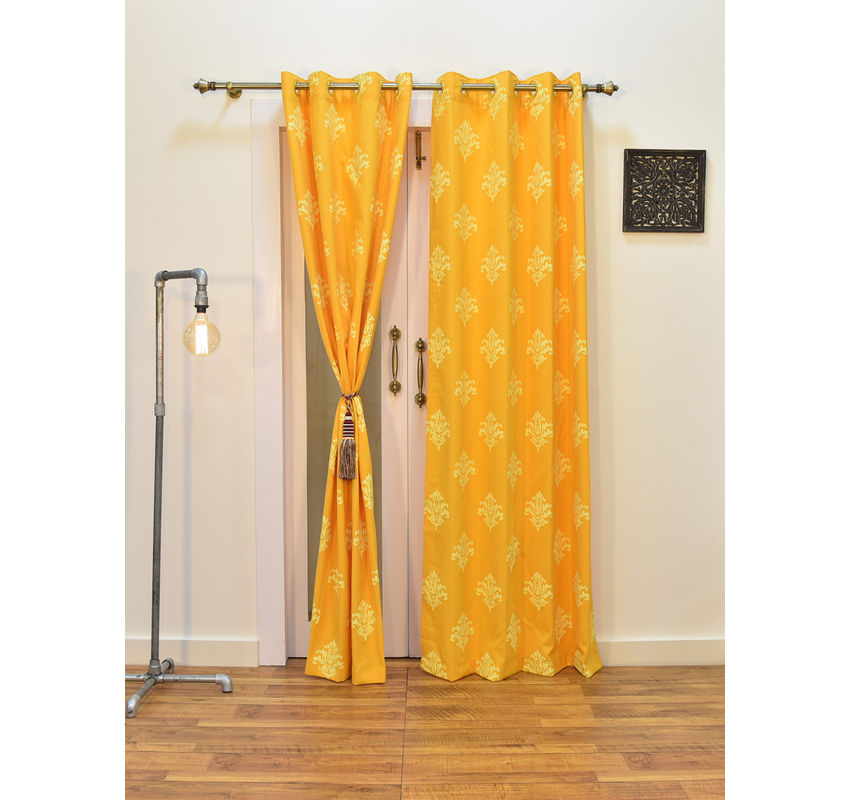 Ariana Berry Damask Yellow Door Curtain