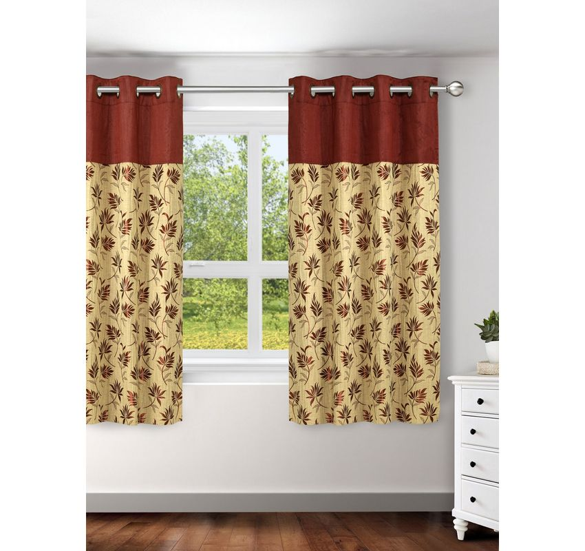 Ariana Linex Flower Red Window Curtain