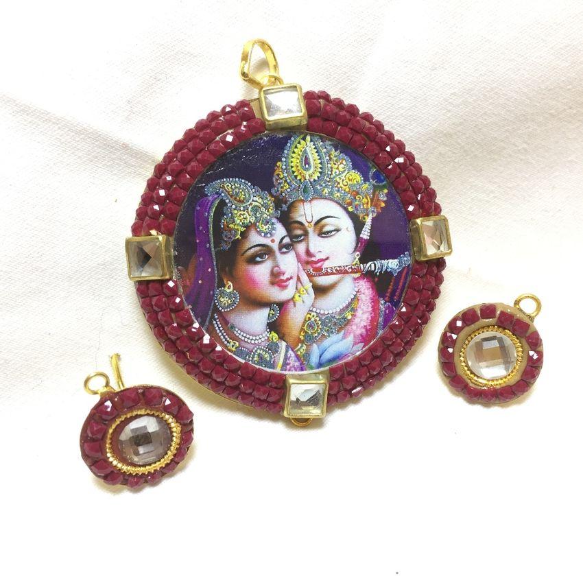 Radha krishna pendant set 3 inches fancy radha krishna pendant set 3 inches aloadofball Gallery