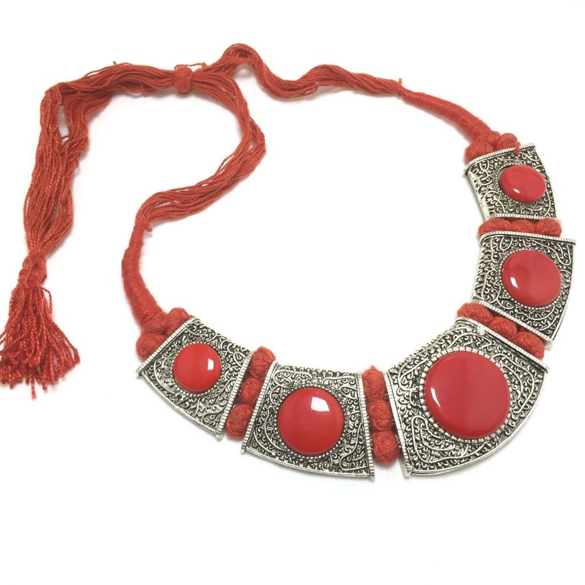 necklace and with set silk red bangles jhumkas matching thread