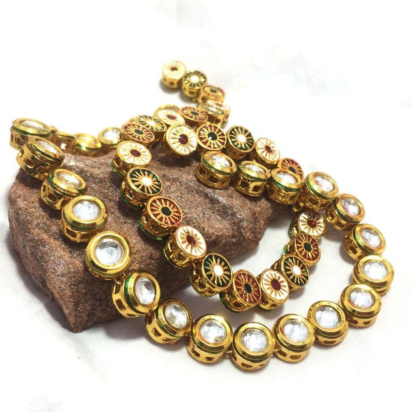 25 pcs Gold plated Meenakari Kundan Stone Chain 8MM 038c9c551
