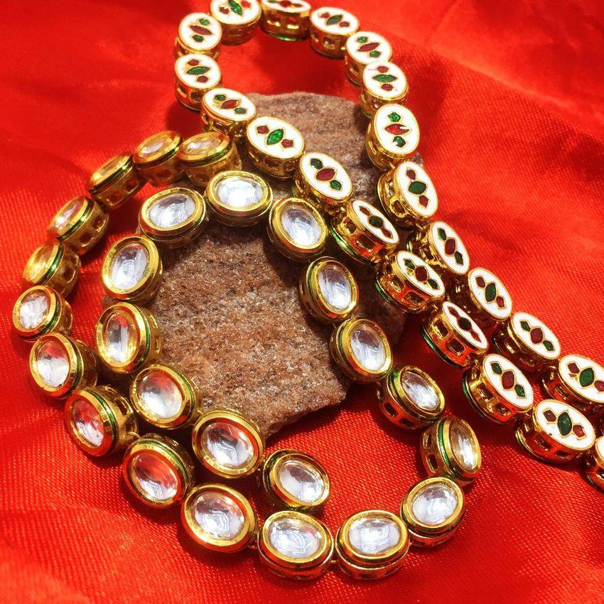 25 pcs Gold plated Meenakari Kundan Stone Chain 10MM 1744ff455